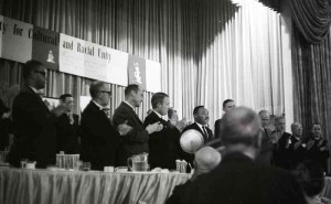 Dr. Martin Luther Kin, Jr. addresses the 1964 General Convention at the ESCRU dinner.
